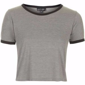 Topshop Black and Grey Crop Top